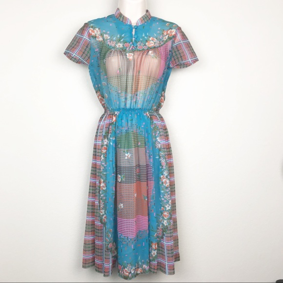 Vintage Dresses & Skirts - VTG 60s Row Joy High Neck Floral Sheer Day Dress